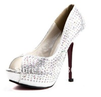 Туфли на высоком каблуке new style spring Waterproof pumps PU shoes women Rhinestone shoe peep-toes