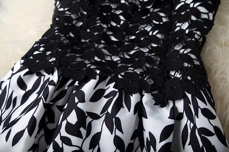 mulheres sem mangas vestido de renda barato imprimir mais mulheres do tamanho veste nova moda verão 2014 passarela vestido # 16173114 fotos Produto # 9