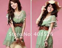 Женское платье Women's New Fashion Elegant Laciness Short Sleeve Sweet Chiffon Mini Dress 5030