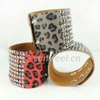 Ювелирное изделие B1178 Fashion Leather Braceley Bangles With Rhinestones Mixed Colors