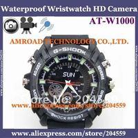 1pc/lot 4GB Waterproof IR Night Vision Wristwatch HD Camera DVR Video 1920X1080 JPG Photo 4032x3024 WAV Audio Recording AT-W1000