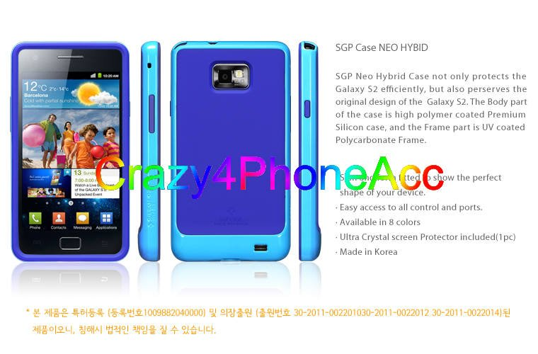 MOQ: 1pcs SGP NEO Hybrid Case For Samsung Galaxy S2 I9100,Silicon SGP Bumper For I9100, Drop Shipping,Free Shipping