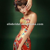Real Photoes Free Shipping Red Embroidered Sweet Heart Sleeveless Chinoiserie Pattern Formal Evening Dress