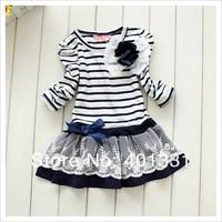 Платье для девочек baby girls striped dress long sleeve flower princess dress children spring autumn clothing