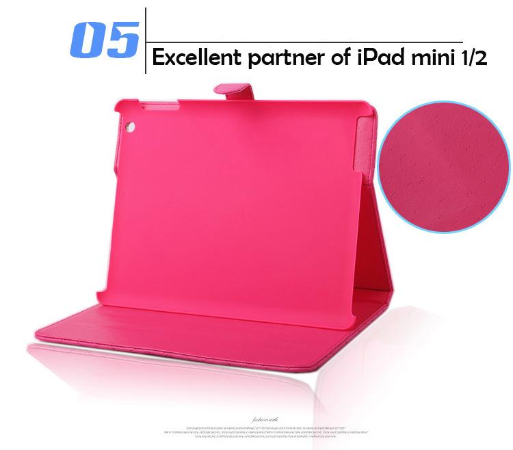 Pink Lattice PU Folded Mini series tablet cover case for ipad mini tablet case cover for ipad mini
