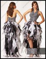 2012 Keyhole Cut Out Halter Ruffled Organza Sexy Prom Dress LEXI