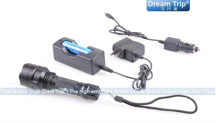 Free shipping [Dream Trip]500lm UltraFire CREE XM-L Q5 waterproof LED Flashlight,+ 1X18650 battery&charger&box,electric torch