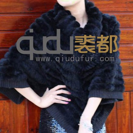 QD5278 Genuine Knitted Rabbit Fur Poncho /Free shipping/Wholesale/Retail/OEM/female