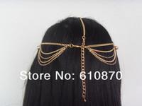 2012 Grecian Fashion Style Women Gold Metal Rhinestone Head Chain Jewelry Headband Head Piece