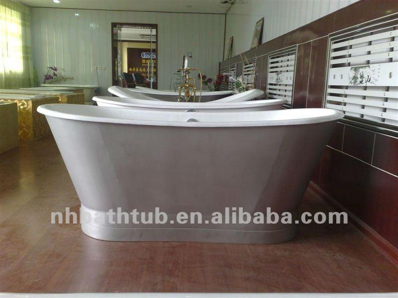 Cast vasca di ferro con gonna/vasca freestanding/di lusso vasca ...