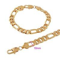 Мода браслет ювелирные изделия 10 мм 18k желтое золото Заполненные цепь браслет ювелирного украшения подарок цепь браслет