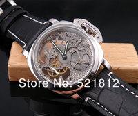 44 мм Парнес выдалбливают полный скелет 6497 механические часы Мужские кожаные 098b