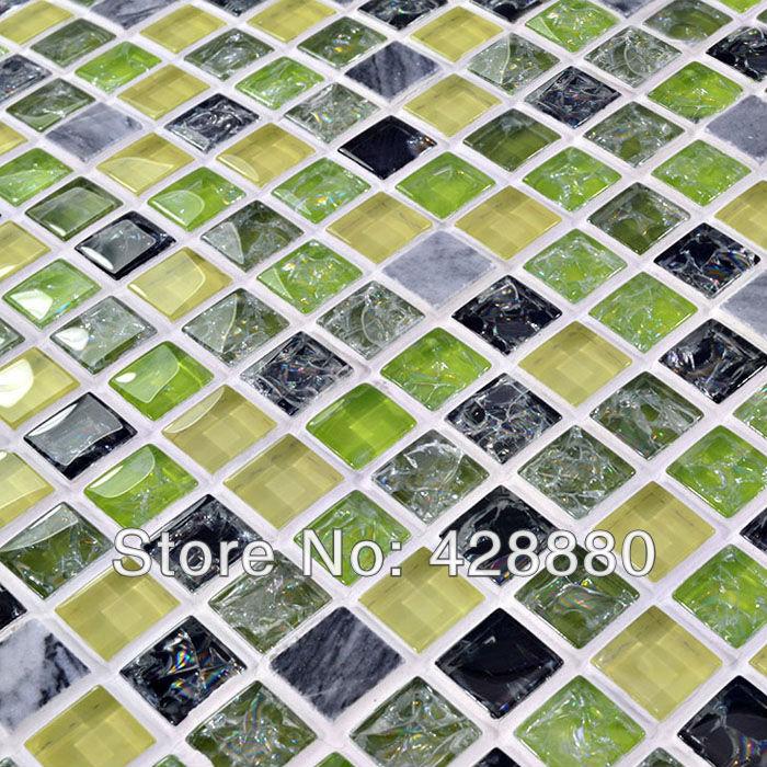 Glass and stone tile backsplash