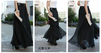 Женские блузки и Рубашки Ladies 9 Yards Hem Chiffon Long Skirt Elastic Waist Full Circle Flying Boho 10 colors black violet purple Peacock blue