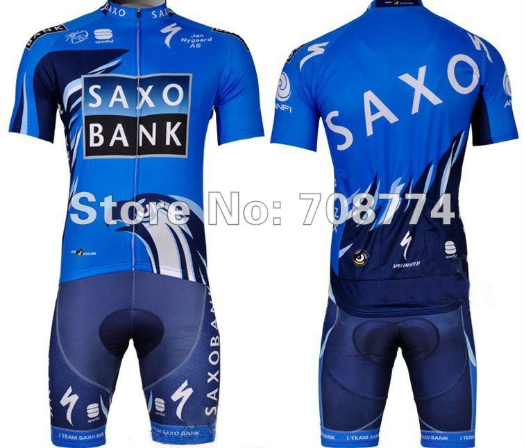 Hot Selling 2012 SAXOBANK Cycling Jerseys+Bib Short Set/Cycling clothes/Bike wear /Made Of High Quality Polyester