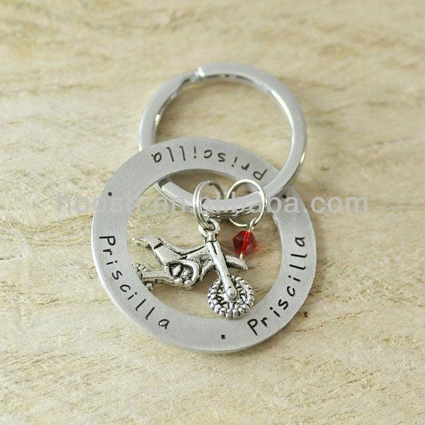 Graduation Gift Jewelry Boy Man Girls Motorcycle Charm Keychain,Inspiration Keychain,Hand Stamped Keychain
