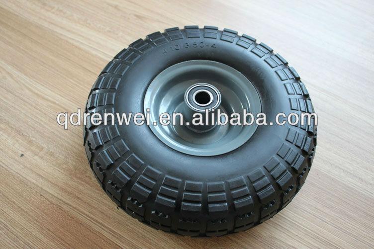 10'' black pu foam wheel, flat free wheel,solid wheel