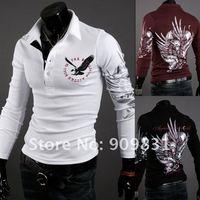 Мужская футболка 2012 Men's Eagle wings tattoo dye printing long sleeve collar POLO shirt, men s t shirt M L XL XXL