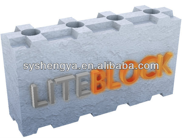 Lightweight interlocking dry stacked concrete block with for Cement foam blocks