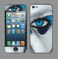 Запчасти для мобильных телефонов Screen protector for iphone5! Front&back blue eye printed pattern! Hot selling