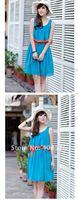 2013 New Stylish fashion Korean Women's Girls Elegant Sleeveless Vest Loose Chiffon Dress free shipping 5380
