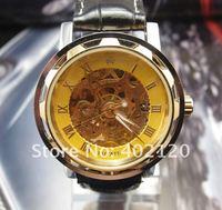 Наручные часы Hot! Luxury Men's Golden Skeleton Mechanical Watch, Genuine Leather Band Wrist Watch #QWJX001