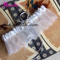 Free Shipping Handmade White with Rhinstone Decoration Wedding Bridal Garter