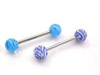 Ювелирное украшение для тела UV acrylic zebra tongue ring, uv Body Jewelry
