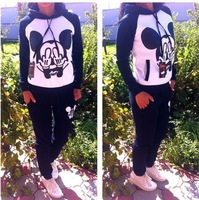 Женские толстовки и Кофты 2013 New Autumn and Winter Fashion Clothing Set Women Casual Hooded Sweatshirt Mickey Mouse Sport Suit = Female Hoodies + Pants