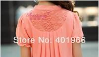 Женские блузки и Рубашки 2013 summer shirt clothes large size women's short-sleeved slim blouses M, L, XL, XXL 3XL pink chiffon shirt