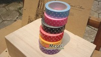Канцелярская клейкая лента Cheap decorative Washi Masking Tape DIY mixed dot /flower/grid Japanese fabric printing tape 60pcs/lot