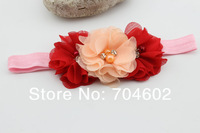 Детский аксессуар для волос New Product Baby Girls Hair Band Chiffon Pearl Flowers With Rhinestone Princess Headband 10sets/lot FD182