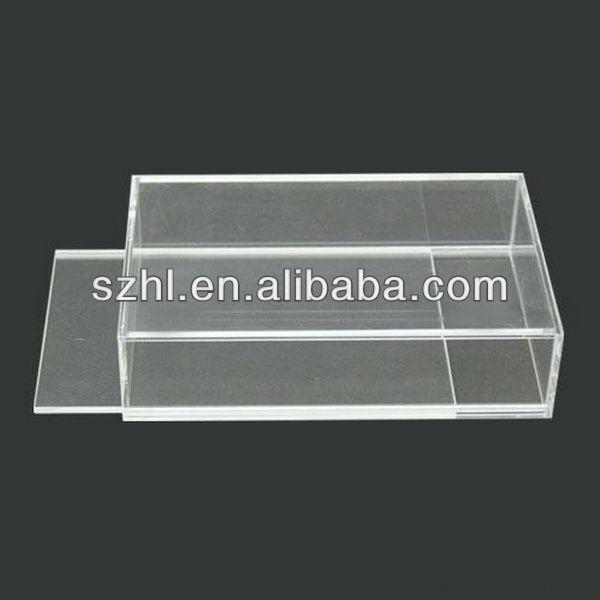 Прозрачный акриловый дисплей сдвижной крышкой небольшой прозрачный акриловый коробки с крышками