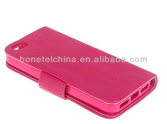PU Leather Flip and soft TPU Wallet Stand Phone Cover for IPhone 5