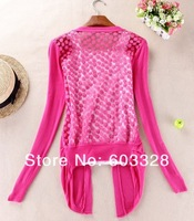 Женские блузки и Рубашки Women Sweet Lace Candy Crochet Knit Blouse Top Coat Cardigan Shirt Sweater