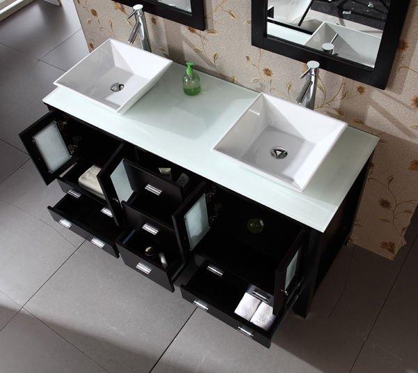 Double vier vanit meuble lavabo de salle de bain id de for Double lavabo salle de bain