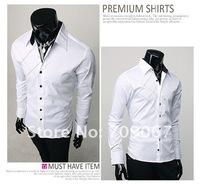 Free Shipping Hot Men's Shirts,Casual Slim Fit Stylish Dress Shirts,Men's Clothing Color:White,Black Size:M-XXL