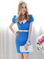 Женское платье new fashion White-collar Slim tight the temperament puff short-sleeved dress blue S, M, L retail