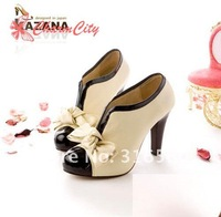 Best selling!!2012  Fashion Sexy shoes Woman PU Bow high Heel Shoes Pump Platforms Ankle Boots  Free Shipping 1pair