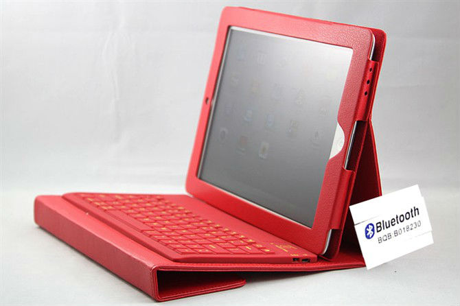 For ipad portfolio leather case,Foldable wireless bluetooth keyboard for ipad