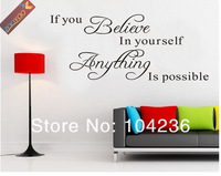 Стикеры для стен 40%Discount Off/ZooYoo8037 If You Believe/English /Quote/Vinyl Wall Art Decals/Window Car Stickers /Home Decor