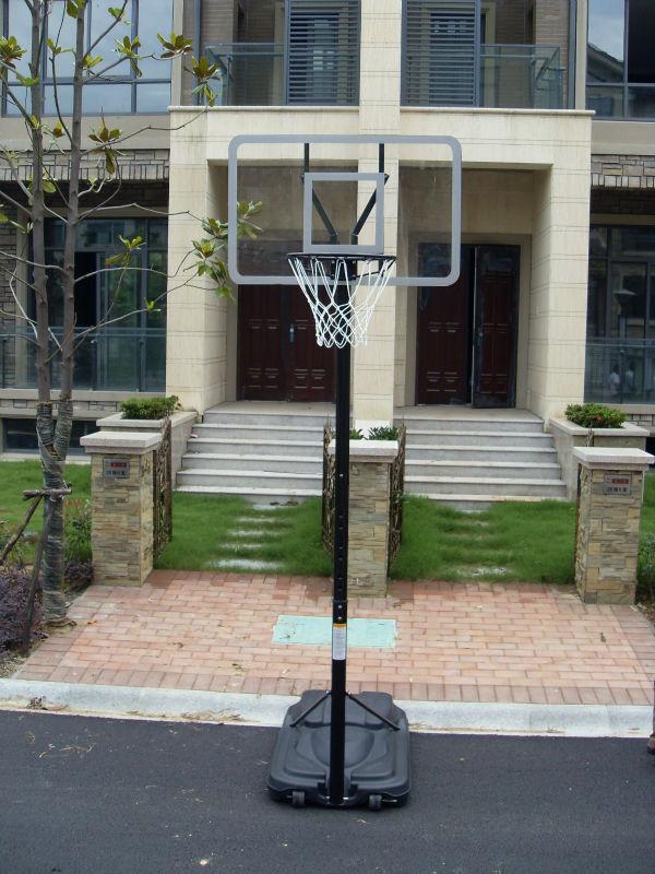 Portable outdoor basketball goal with telescope lift spring rim