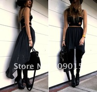 Женская юбка 2012 women new fashion sexy asymmetric perspective bust skirt swallow tail skirt 5color