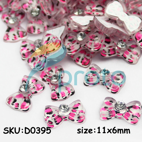 D0395 resin bow with rhinestone nail art hot pink.jpg