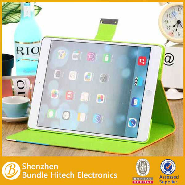 High quality Rainbow PU Leathr Case for iPad air 5, stand case for ipad air