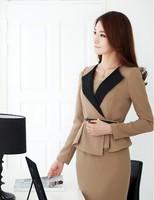 Женское платье Korean style Office lady Elegant Slim Dress for women, V-neck long sleeve OL Suit Career Apparel