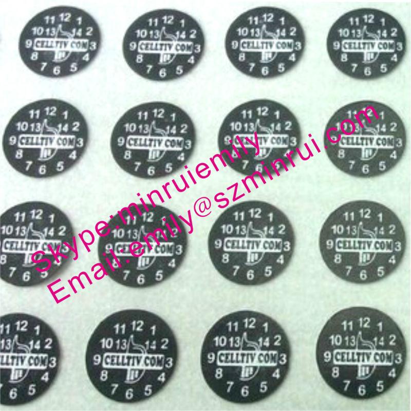 Custom 6mm Round Destructible Calibration Void Stickers