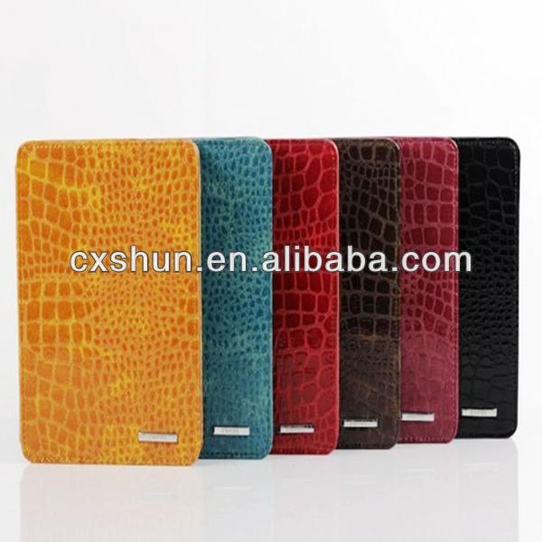 Crocodile case Glossy PU Leather flip Case For mini ipad