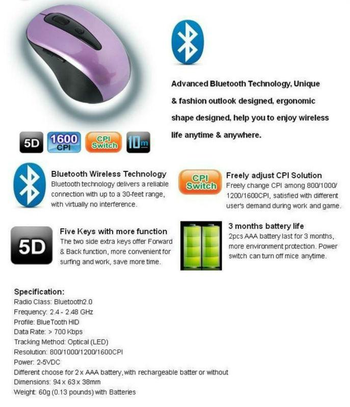3D slim cheap bluetooth mouse