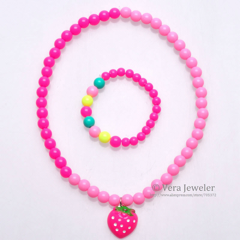 FKJ0104 800 Baby Girls Kids Necklace Bracelet Strawberry Beaded Childrens Jewellery Set 4 Contrast Fluorescent Neon Colors (2)